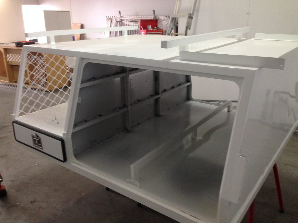 Camper box with the white powder coating.