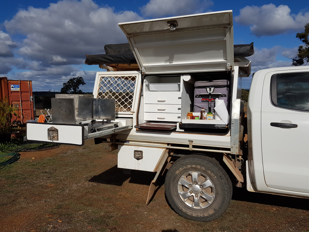 The final camper box with the kitchen