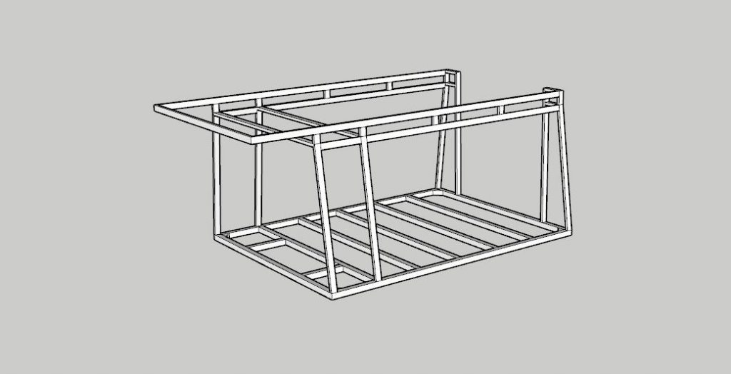 Complete framing including the front part that will stick out over the cab of the car in Sketchup 3D.