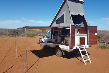 Photo of the finished camper box in Francois Peron National Park, Western Australia