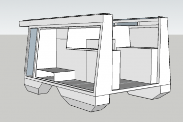 Screenshot of the drawings in Sketchup 3D of the interior walls