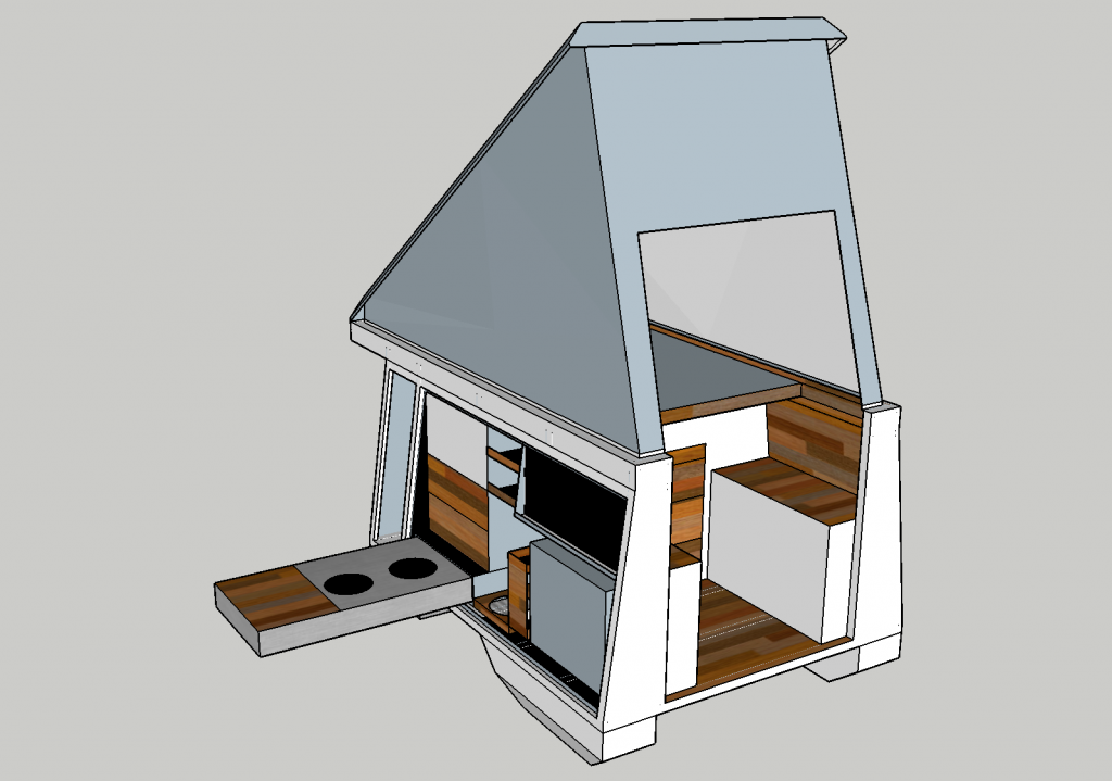 Screenshot of the final plan for the camper box, drawn in Sketchup3D.